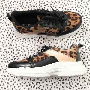 NEW Boutique Leopard Print Lace Up Sneakers